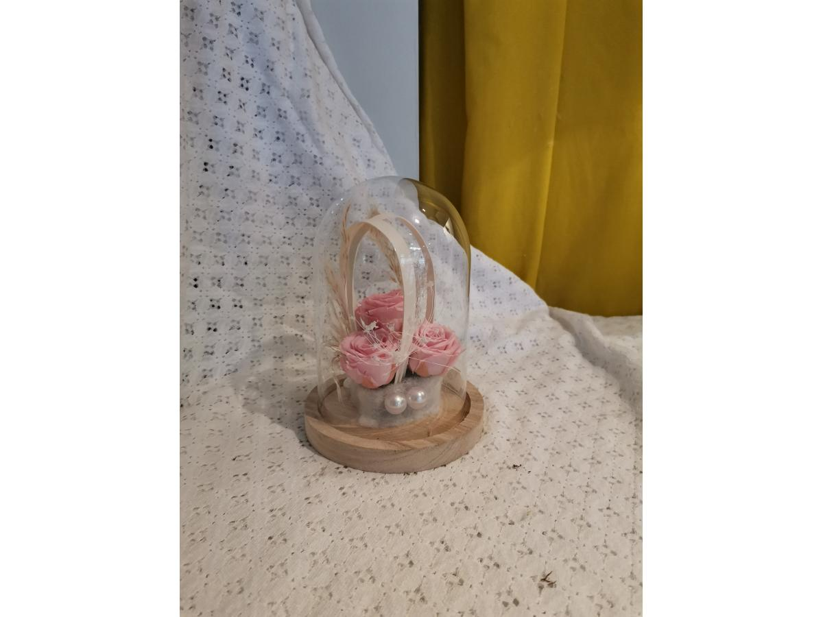 Cloche en verre ROSE ETERNELLE