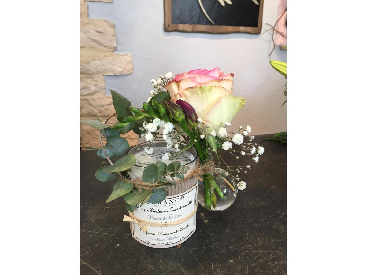 Bougie Durance Fleur de coton et sa rose espérance + décoration